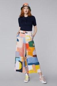 Ellen Rutt x Gorman Joy Ride Linen Pant – printed wide leg trousers – cropped multicoloured pants