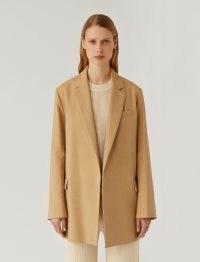 JOSEPH Stretch Linen Cotton Julia Jacket Toffee ~ womens light brown longline open front jackets