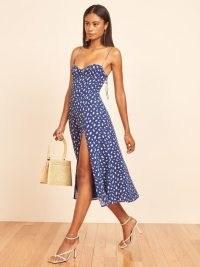 Florence Pugh blue cami strap split hem dress, Reformation Juliette Dress in Moray, out in Paris, 7 July 2021 | celebrity street style | star summer fashion