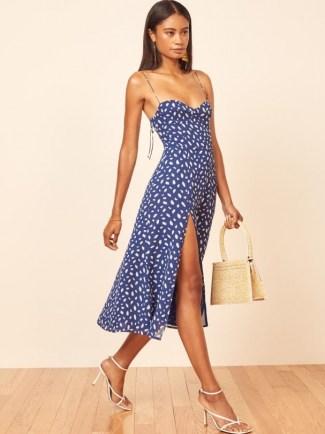 Florence Pugh blue cami strap split hem dress, Reformation Juliette Dress in Moray, out in Paris, 7 July 2021 | celebrity street style | star summer fashion - flipped