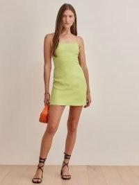 REFORMATION Karsten Linen Dress Spearmint ~ green open strappy cross back mini dresses ~ womens linen fashion