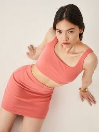 REFORMATION Kenzie Two Piece Rose / pink crop top and mini skirt