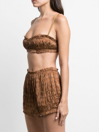Khaite Indira bralette top ~ brown ruched bralettes ~ pleated bralets - flipped
