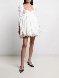 Khaite Katie ruched mini dress – puffball hem dresses – sweetheart neckline fashion – puff sleeves