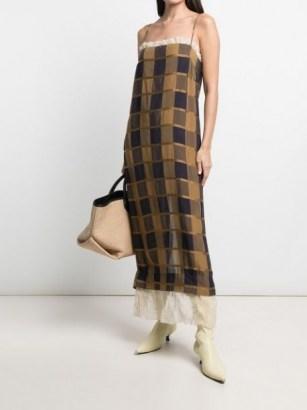 Khaite Susanna checked sleeveless dress / cami strap check print ruffle trim slip dresses - flipped