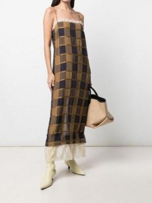 Khaite Susanna checked sleeveless dress / cami strap check print ruffle trim slip dresses