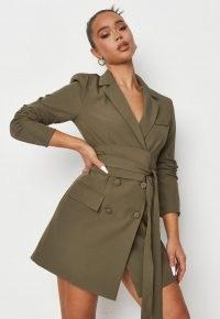 MISSGUIDED khaki belted pocket blazer dress ~ womens on trend jackets dresses