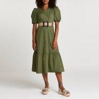 RIVER ISLAND Khaki belted puff sleeve frill midi dress ~ green tiered hem dresses