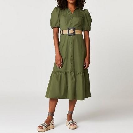 RIVER ISLAND Khaki belted puff sleeve frill midi dress ~ green tiered hem dresses - flipped