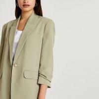 RIVER ISLAND Khaki oversized blazer ~ womens ruched sleeve blazers ~ women's green on trend gathered detail jackets