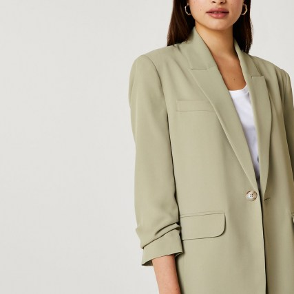 RIVER ISLAND Khaki oversized blazer ~ womens ruched sleeve blazers ~ women's green on trend gathered detail jackets - flipped