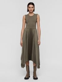JOSEPH Knit Weave Plissé Dera Dress ~ chic sleeveless asymmetric hem dresses