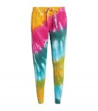 LA DETRESSE Strawberry Fields Sweatpants / womens multicoloured cuffed leg joggers / cuff hem jogging bottoms