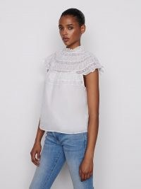 FRAME Lace Inset Short Sleeve Blanc ~ romanric fashion ~ womens high frill neck top ~ womens feminine tops
