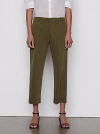 FRAME Le Tomboy Trouser Released Hem Washed Moss ~ womens relaxed fit crop hem twill trousers ~ women's casual fashion