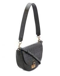 JIGSAW LEATHER AUDLEY SHOULDER BAG TAUPE ~ croc embossed saddle bags ~ crocodile effect handbags