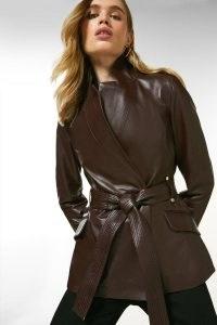 KAREN MILLEN Leather Investment Notch Neck Short Coat ~ luxe belted coats