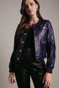 KAREN MILLEN Leather Pocket Bomber Jacket ~ luxe cobalt blue jackets
