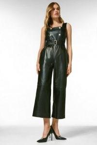 KAREN MILLEN Leather Square Neck Db Cropped Jumpsuit ~ sleeveless crop leg jumpsuits ~ luxe fashion