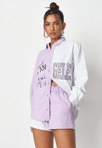 MISSGUIDED lilac co ord colourblock varsity denim shirt ~ womens on trend slogan print shirts