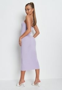MISSGUIDED lilac rib pearl knit midaxi dress ~ glamorous going out dresses ~ womens summer evening glamour