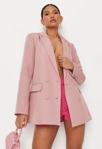 MISSGUIDED lilac tailored longline blazer ~ womens on trend double breasted jackets ~ women's fashionable blazers ~ colours for summer clothing