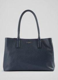 L.K. BENNETT LILLIAN MIDNIGHT GRAINY LEATHER TOTE BAG ~ top handle shoulder bags