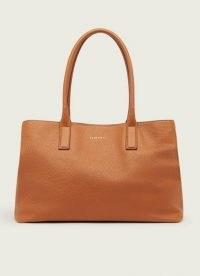 L.K. BENNETT LILLIAN TAN TUMBLED LEATHER TOTE BAG ~ classic carryall handbags ~ brown roomy top handle bags