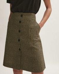 JIGSAW LINEN ANIMAL POLKA SKIRT in KHAKI / A-line button front spot print skirts