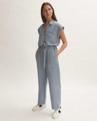 JIGSAW LINEN UTILITY JUMPSUIT COASTAL BLUE / short sleeve tie waist jumpsuits / womens utilitarian fashion