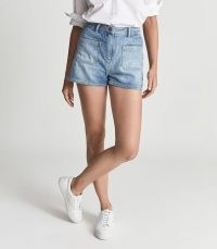 REISS LOIS MID RISE DENIM SHORTS PALE BLUE ~ womens front pocket detail shorts