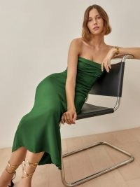 REFORMATION Lore Dress Kelly Green ~ strapless ruched bodice high slit hem dresses ~ chic looks ~ effortless style