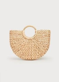 L.K. BENNETT LUELLA ROUNDED STRAW BASKET / woven baskets / womens chic summer bags