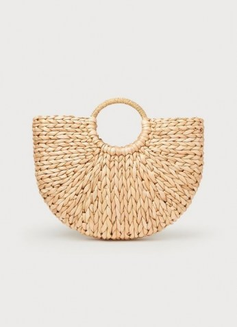 L.K. BENNETT LUELLA ROUNDED STRAW BASKET / woven baskets / womens chic summer bags - flipped