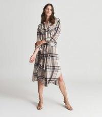 REISS LYNN CHECKED SHIRT DRESS CREAM ~ check print tie waist dresses