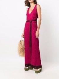 M Missoni pink metallic-knit V-neck sleeveless jumpsuit ~ knitted tie waist jumpsuits ~ womens designer fashion