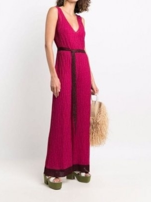M Missoni pink metallic-knit V-neck sleeveless jumpsuit ~ knitted tie waist jumpsuits ~ womens designer fashion - flipped