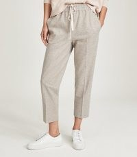REISS MAISIE TEXTURED DRAWCORD TROUSERS SILVER GREY ~ cropped loungewear trousers ~ womens jogger style lounge pants ~ women's smart crop leg jogging bottoms