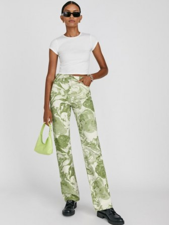 Reformation Marble High Rise Straight Long Jeans Avocado Swirl | womens green marble style print denim fashion - flipped