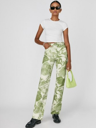 Reformation Marble High Rise Straight Long Jeans Avocado Swirl | womens green marble style print denim fashion