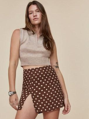 REFORMATION Margot Skirt in Au Lait / brown spot print split hem mini skirts - flipped