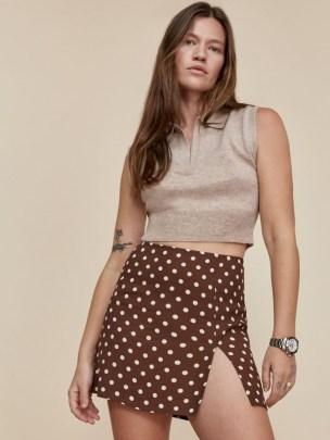 REFORMATION Margot Skirt in Au Lait / brown spot print split hem mini skirts