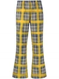 Marni two-tone flared trousers blue / yellow check | womens crop hem retro pants