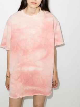 Marques'Almeida tie-dye T-shirt organic cotton dress ~ pink short sleeve tee dresses