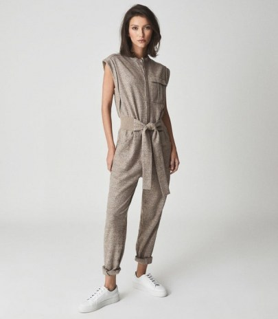 REISS MATI TEXTURED WOOL BLEND JUMPSUIT NEUTRAL / womens casual cap sleeve jumpsuits / luxe loungwear / chic lounge fashion - flipped