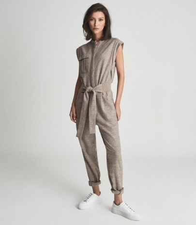 REISS MATI TEXTURED WOOL BLEND JUMPSUIT NEUTRAL / womens casual cap sleeve jumpsuits / luxe loungwear / chic lounge fashion