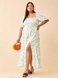 REFORMATION Meadow Dress Es / womens plus size smocked bodice summer dresses / feminine leaf print fashion