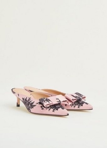 L.K. BENNETT MELISSA PINK AND BLACK SATIN KITTEN HEEL MULES ~ feminine bow front pointed toe mule ~ womens special occasion low heels - flipped
