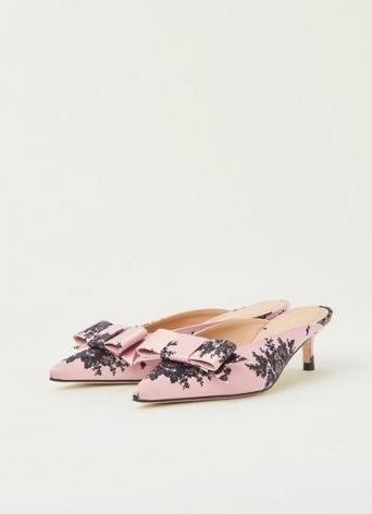 L.K. BENNETT MELISSA PINK AND BLACK SATIN KITTEN HEEL MULES ~ feminine bow front pointed toe mule ~ womens special occasion low heels