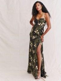 REFORMATION Melita Dress in Anastasia | flotal spaghetti strap maxi dresses | thigh high slit hem | split hemline | skinny strap summer occasion fashion